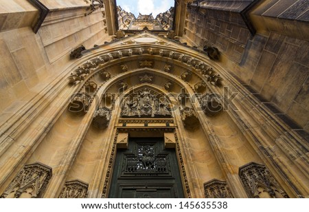 View of the main entrance to the St. Vitus Cathedral, Prague Castle - stock photo