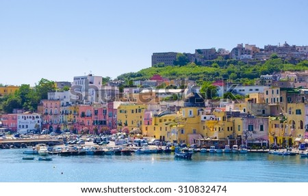 view of the main port of procida island in italy situated near naples. - stock photo