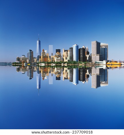 View of the Manhattan Island on a sunny day. - stock photo