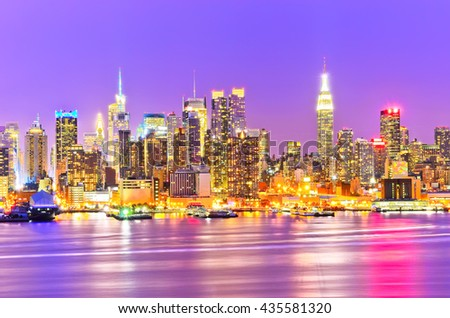View of the Manhattan skyline at dusk