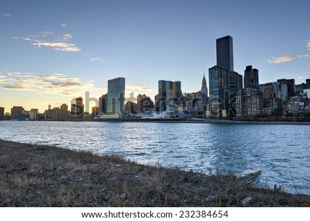 View of the Manhattan Skyline from Roosevelt Island