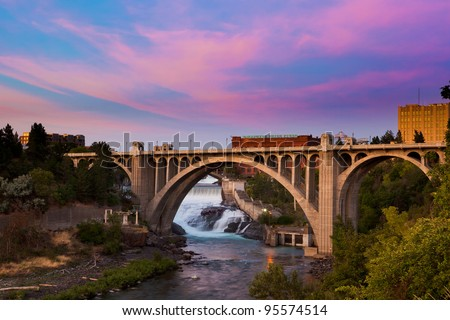 View of the Maple Street Bridge in Spokane at Sunset