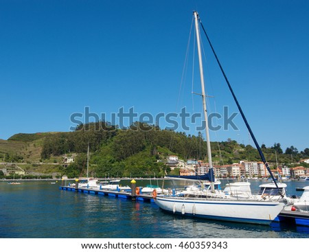 view of the marina in Ribadesella, Asturias, Spain