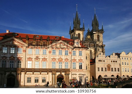 View of The Marketplace in old town in Prague. Czech republic.