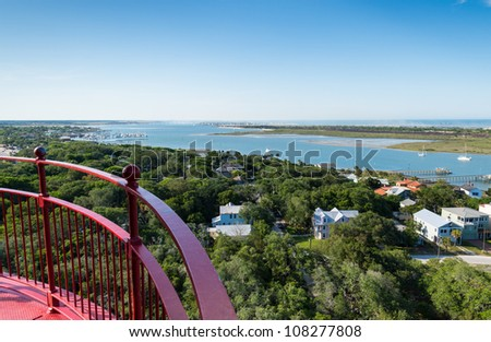 View of the Matanzas River and Bay from the top of the St. Augustine Lighthouse - stock photo