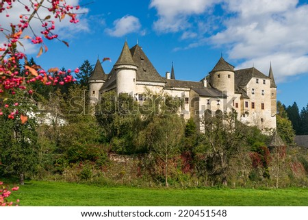 View of the medieval Castle Frauenstein in Carinthia/Austria at a sunny autumn day - stock photo