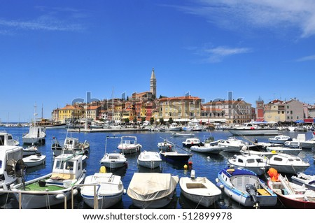 View of the medieval Rovinj, a picturescue town with colorful houses and characteristic church.
