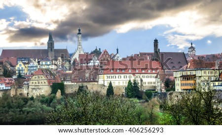 View of the medieval town beyond the pinion wall. Rothenburg, Bavaria, Germany.