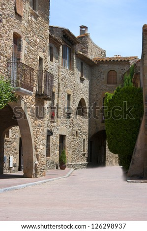 View of the medieval village of Monells.Catalonia.Spain