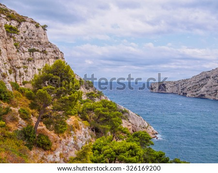 View of the Mediterranean sea from the Morgiou calanque near Marseille, France - stock photo