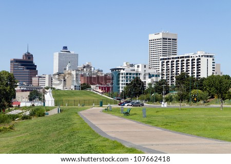 View of the Memphis, Tennessee city skyline from a park in the downtown area. - stock photo