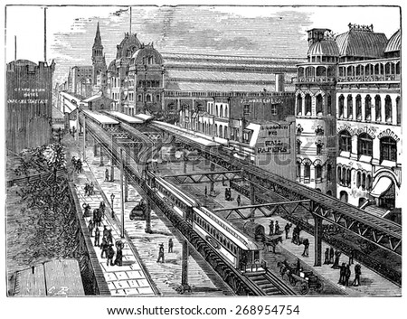View of the Metropolitan Railway of New York, vintage engraved illustration. Industrial encyclopedia E.-O. Lami - 1875.  - stock photo