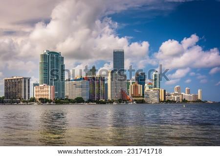 View of the Miami Skyline from Virginia Key, Miami, Florida. - stock photo