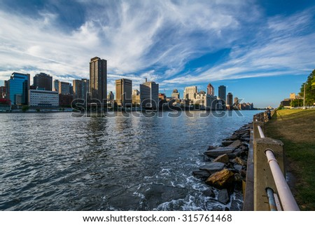 View of the Midtown Manhattan skyline, from Roosevelt Island, New York.
