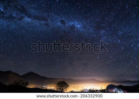 View of the Milky Way over the Elqui Valley in Chile - stock photo