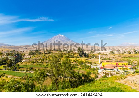 View of the Misty Volcano in Arequipa, Peru, South America - stock photo
