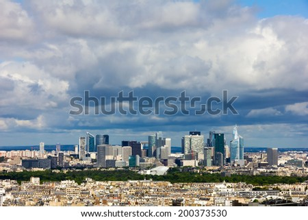 View of the modern business district of Paris - La Defense from Eiffel Tower, France - stock photo