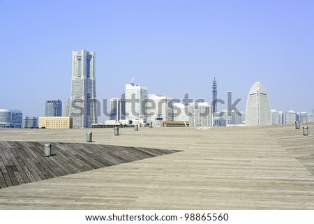 View of the modern city in Yokohama, Japan at Osanbashi pier.