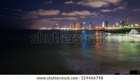 view of the modern Tel Aviv and the sea - stock photo