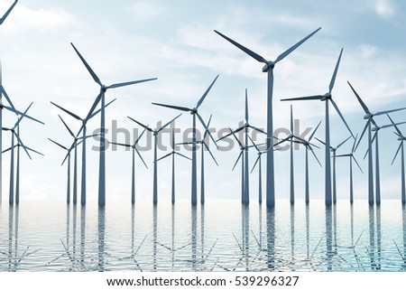 View of the Modern Wind Farm in the middle of the Beautiful Ocean Scenery. 3D Rendering
