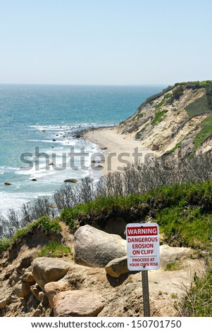 View of the Mohegan Bluffs section of Block Island located in the state of Rhode Island USA. - stock photo