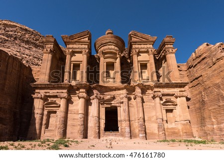 View of the monastery of Petra in Jordan