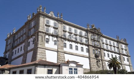 View of the Monastery of Santa Clara, built in neoclassical style in 1777 in Vila do Conde, Portugal - stock photo