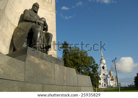 "view of the monument ""alexander nevskiy"" in russian town Vladimir - stock photo"