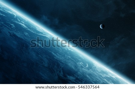 View of the moon close to planet Earth elements of this image furnished by NASA 3D rendering