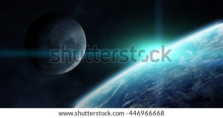 View of the moon close to planet Earth from space during a sunrise 'elements of this image furnished by NASA' '3D rendering'