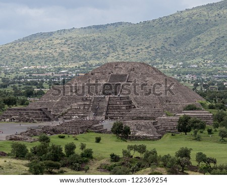 View of the Moon Pyramids in Teotihuacan - Mexico - stock photo