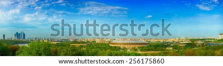 View of the Moscow. Luzhniki Olympic Stadium and architectural center Moscow-City. Russia - stock photo