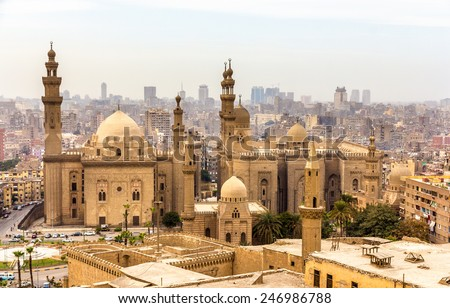 View of the Mosques of Sultan Hassan and Al-Rifai in Cairo - Egypt - stock photo