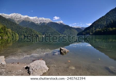 View of the mountain lake Rizza, Abkhazia - stock photo