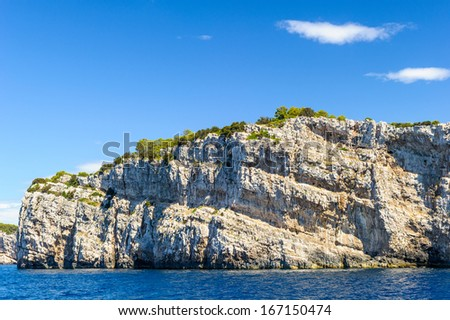 View of the mountain of the Croatian coast of the Adriatic Sea, Europe
