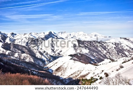 View of the mountain pass of Pajares between Leon and Asturias in winter - stock photo