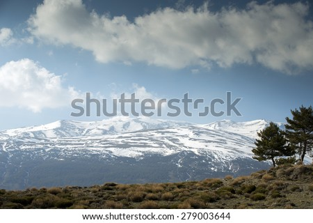 view of the mountains and clouds, sierra nevada, spain - stock photo