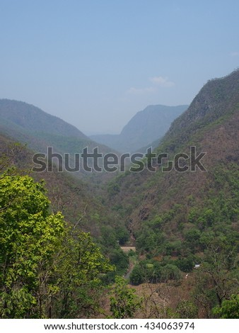 View of the mountains in summer at Mae Hong Son, Thailand.