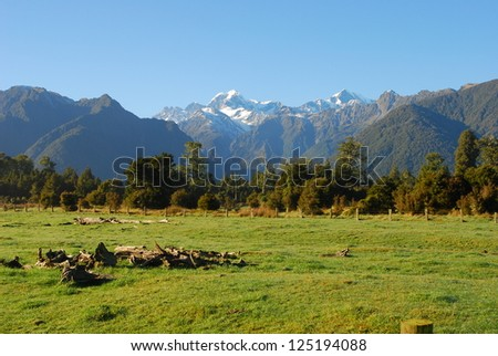 View of the mountains near Fox Glacier on the South Island of New Zealand - stock photo