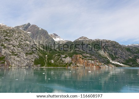View of the mountains near Johns Hopkins Glacier in Glacier Bay National Park in Alaska