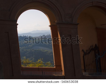 View of the mountains of Bologna,Italy from the San Lucca church - stock photo