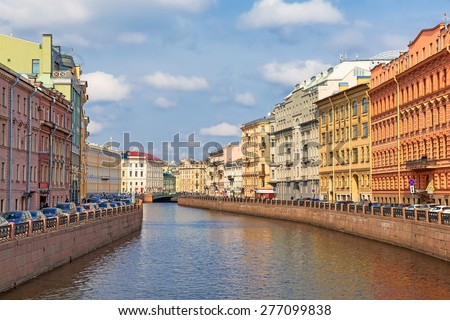 View of the Moyka river, St. Petersburg. Russia  - stock photo