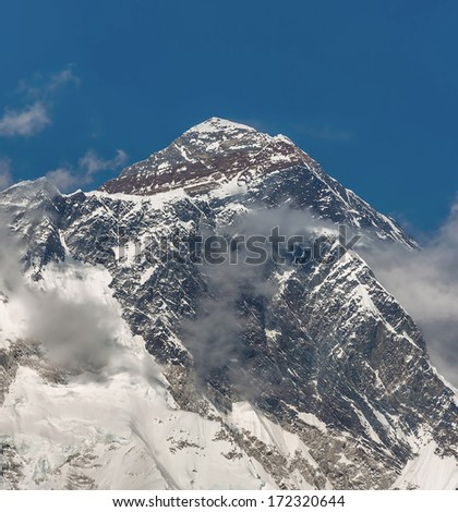 View of the Mt. Everest (8848 m) from South - Nepal, Himalayas - stock photo