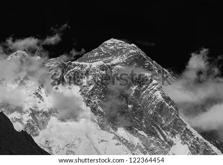 View of the Mt. Everest (8848 m) from South - Nepal, Himalayas (black and white) - stock photo