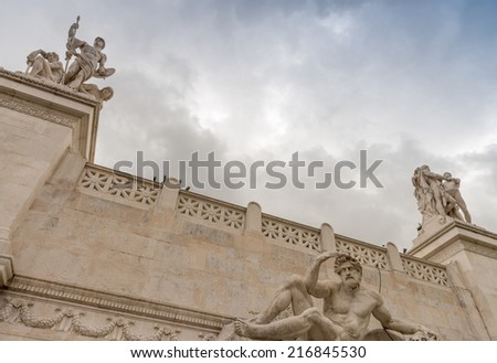 View of the national ,monument a Vittorio Emanuele II on the the Piazza Venezia in Rome, Italy. - stock photo