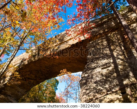 View of the Natural Bridge in Slade Kentucky surrounded by fall colored trees