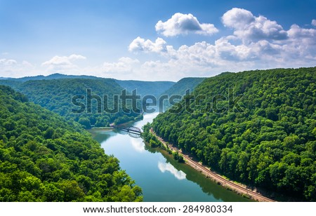 View of the New River from Hawk's Nest State Park, West Virginia. - stock photo
