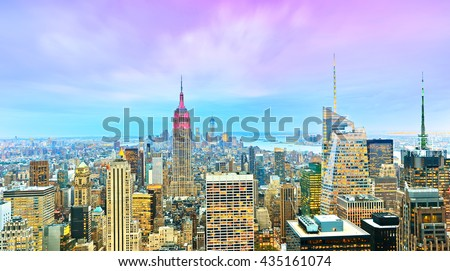 View of the New York City at dusk  - stock photo