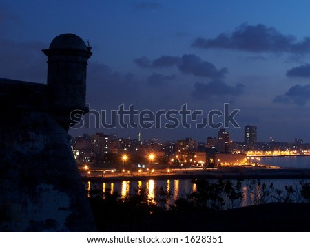 View of the night Havana - stock photo