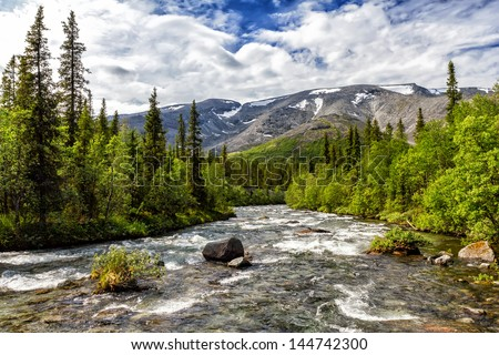 View of the Northern Chorrgor pass from the river Kuniyok, Khibiny, Russia - stock photo